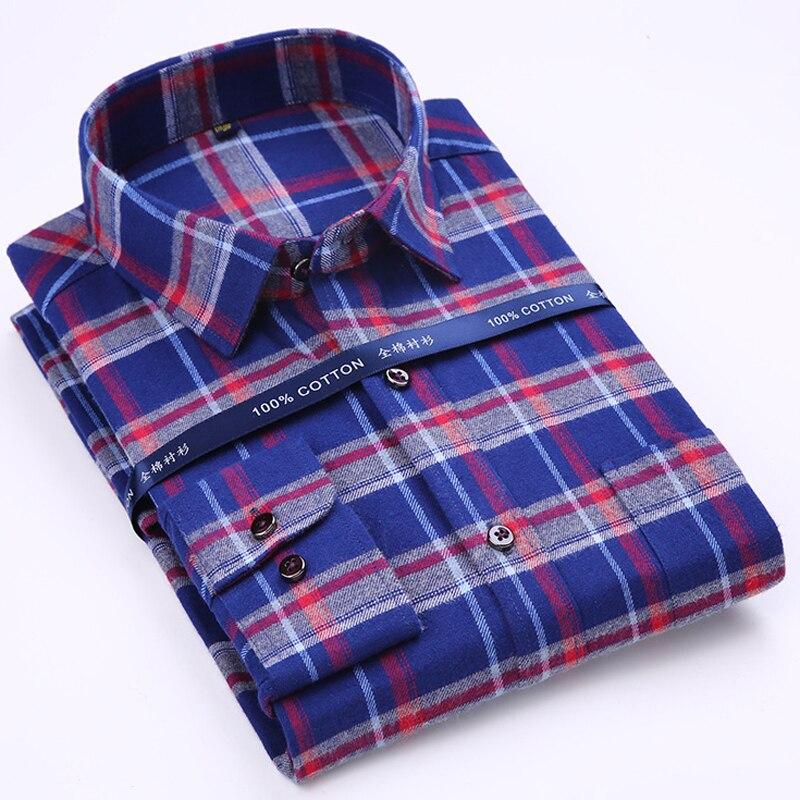 Hommes de Pur Coton Plaid/rayé Brossé Robe Chemise avec Gauche Poche Poitrine Smart Casual Régulier-fit Long manches Homme Tops Chemises