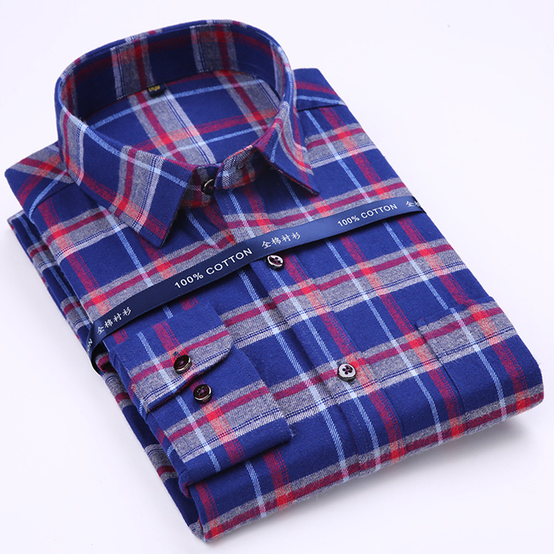 Men's Pure Cotton Plaid/striped Brushed Dress Shirt with Left Chest Pocket Smart Casual Regular-fit Long Sleeve Male Tops Shirts