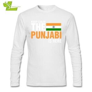 Image 4 - Mantenere La Calma Paura Il Punjabi È Qui T Camicia Maschile Nuova Venuta Maglietta Normale T Shirt di Autunno degli uomini 100% Cotone A buon mercato Papà Abbigliamento