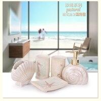 Bathroom Accessories Set 5pcs Sea Shell Style Bathroom Sets Cartoon Resin Toothbrush Cup Soap Dish