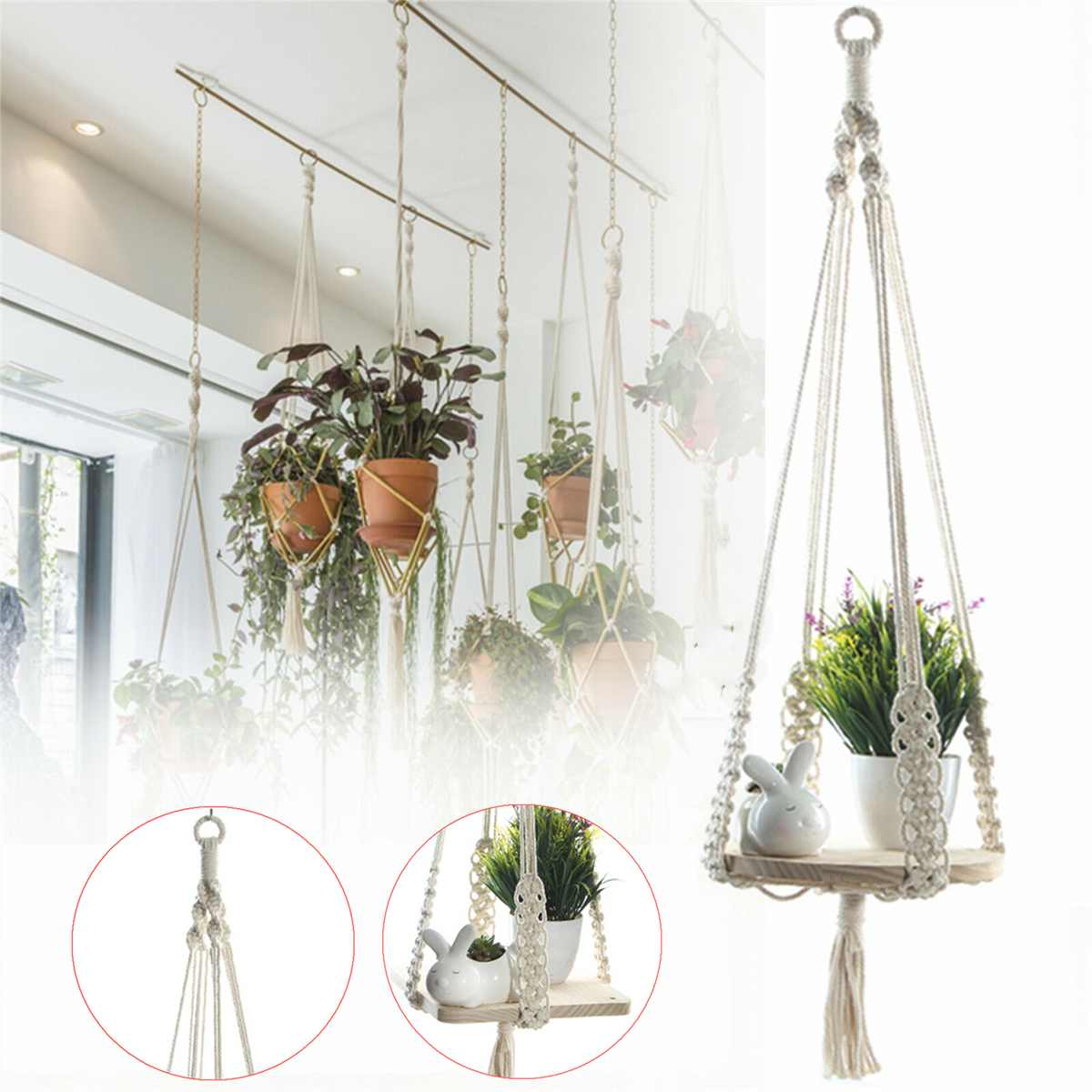 US $17 15 52% OFF|100% Handmade Macrame Shelf Hanging Planter Plant Hanger  Hanging Plant Stand Indoor Plants with Wooden Shelf Home Decor-in Hanging