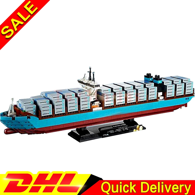 Lepin 22002 Genuine Technic Kits The Maersk Cargo Container Ship Building DIY Blocks Bricks KID Educational legoings Toys 10241 lepin 22002 1518pcs the maersk cargo container ship set educational building blocks bricks model toys compatible legoed 10241