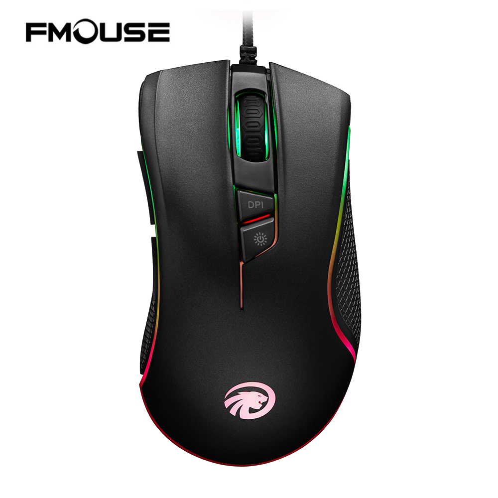 FMOUSE F300 4000 DPI Programmable 7 Buttons RGB Backlit Wired Optical Gaming Mouse for Laptop Desktop Computer PC Gamer Mice new rapoo v22 programmable gaming mouse 3000dpi 7 buttons backlit usb wired optical mouse gamer for pc computer laptop