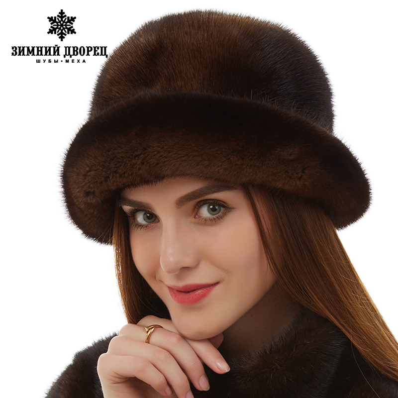 35c6bda9ef6 Fashion fur hat Women Casual Mink fur hat Floral Decoration mink fur hat  womens Genuine Leather winter hats for women