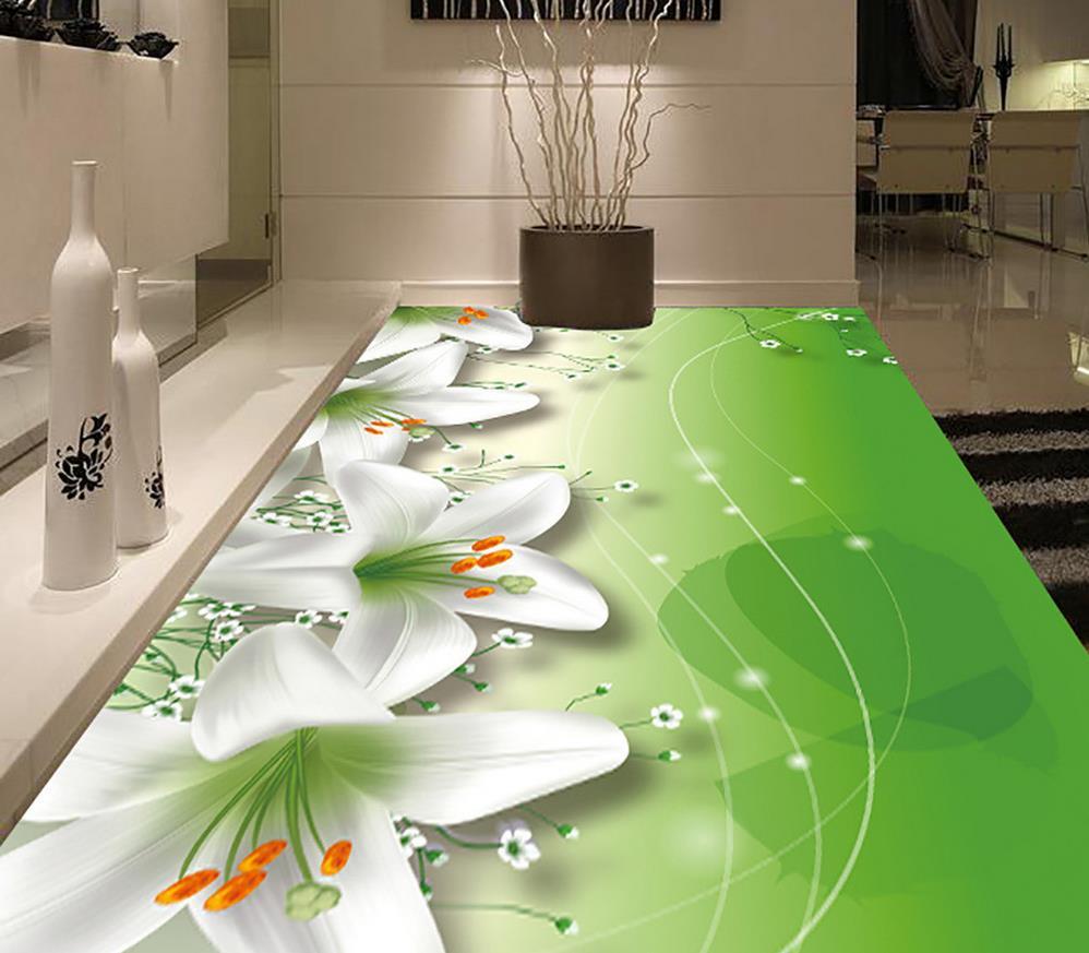 Lily sky stars 3d floor waterproof wallpaper for bathroom - Waterproof floor paint for bathrooms ...