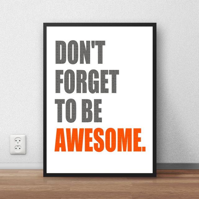 Hot Sale Vintage Poster DON FORGET TO BE AWESOME Bar Cafe Slogan Kraft  Print Paper Retro