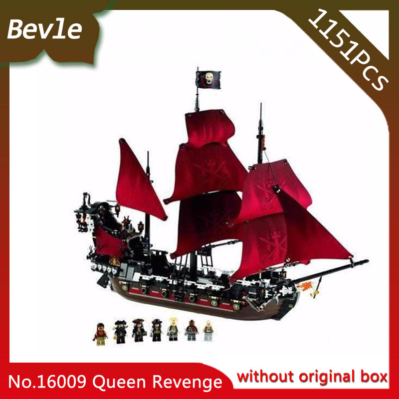 Bevle Store LEPIN 16009 1151pcs Movie Series Pirates Of The Caribbean Queen Anne's Building Blocks Bricks For Children Toys 4195 dhl lepin 22001 imperial warships 16009 queen anne s revenge model building blocks for children pirates toys clone 10210 4195