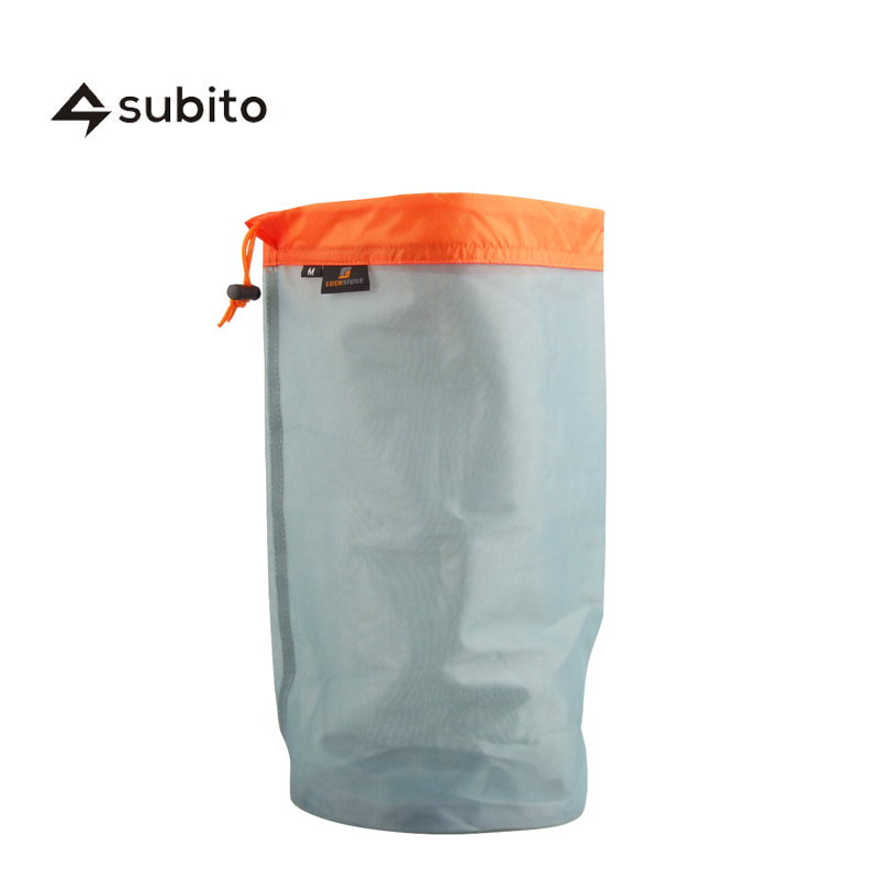 SUBITO M Size Travel Kits Ultralight Drawstring Mesh Stuff Sack Storage Bag Tavelling Camping Outdoor Laundry Cloth Pouch