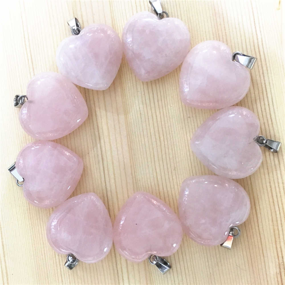 Hot! Fashion 12Pcs Natural Stone Pink Roses Quartz Charms Heart Pendant For Jewelry Making Necklace 25*25*10MM Wholesale Lots