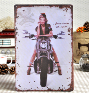 30x20cm Pin Up Motor Vintage Home Decor Tin Sign Wall Metal Art Poster Retro Plaque Plate In Plaques Signs From Garden On
