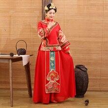 874905c97 Dou Kou 2016 Traditional Chinese Bride Wedding Costume XiuHeFu LongFengGua  Toasting Costume Hanfu with Hair Tiaras