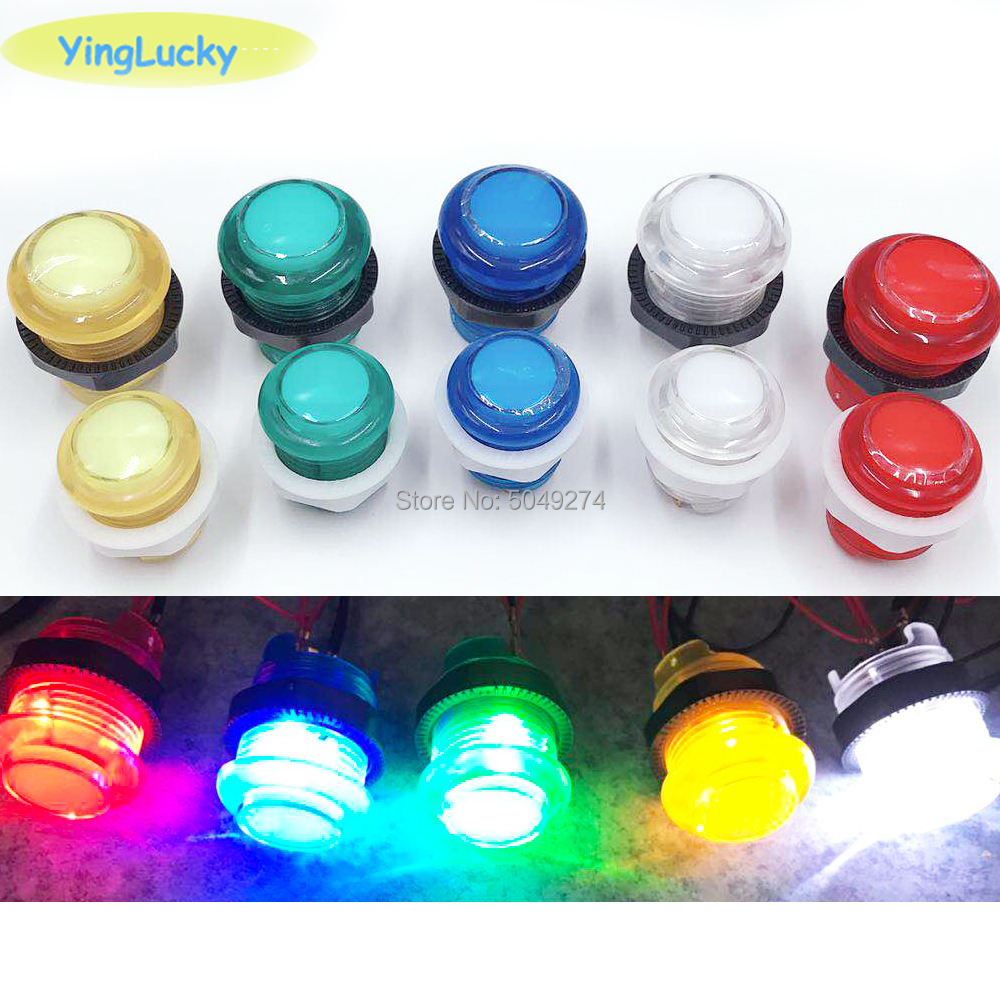 Yinglucky 1PCS 33mm 28mm 24mm LED Arcade Push Button Arcade Start Button Switch 5V Illuminated Button Arcade Cabinet Accessories