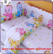 Promotion! 6PCS Baby bedding set 100% cotton crib bumper suit cartoon bedclothes (bumpers+sheet+pillow cover)