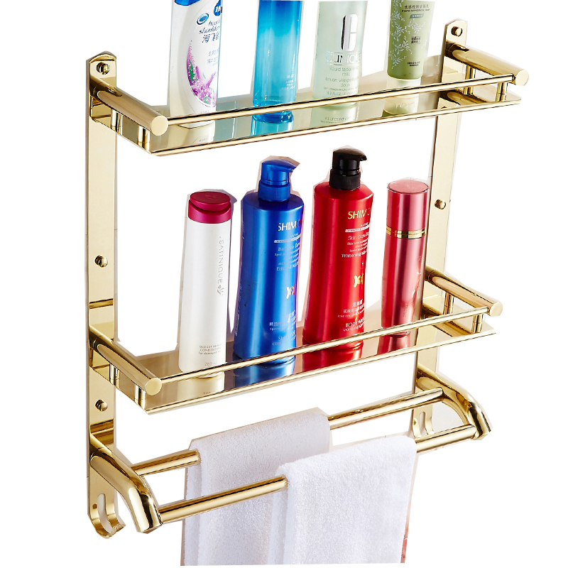 European Golden Bathroom Accessories Towel Rack Wall Mount Stainless Steel Double Layer Corner Rack Bathroom Shelf Wall Hanging wenger stonehide w16 04
