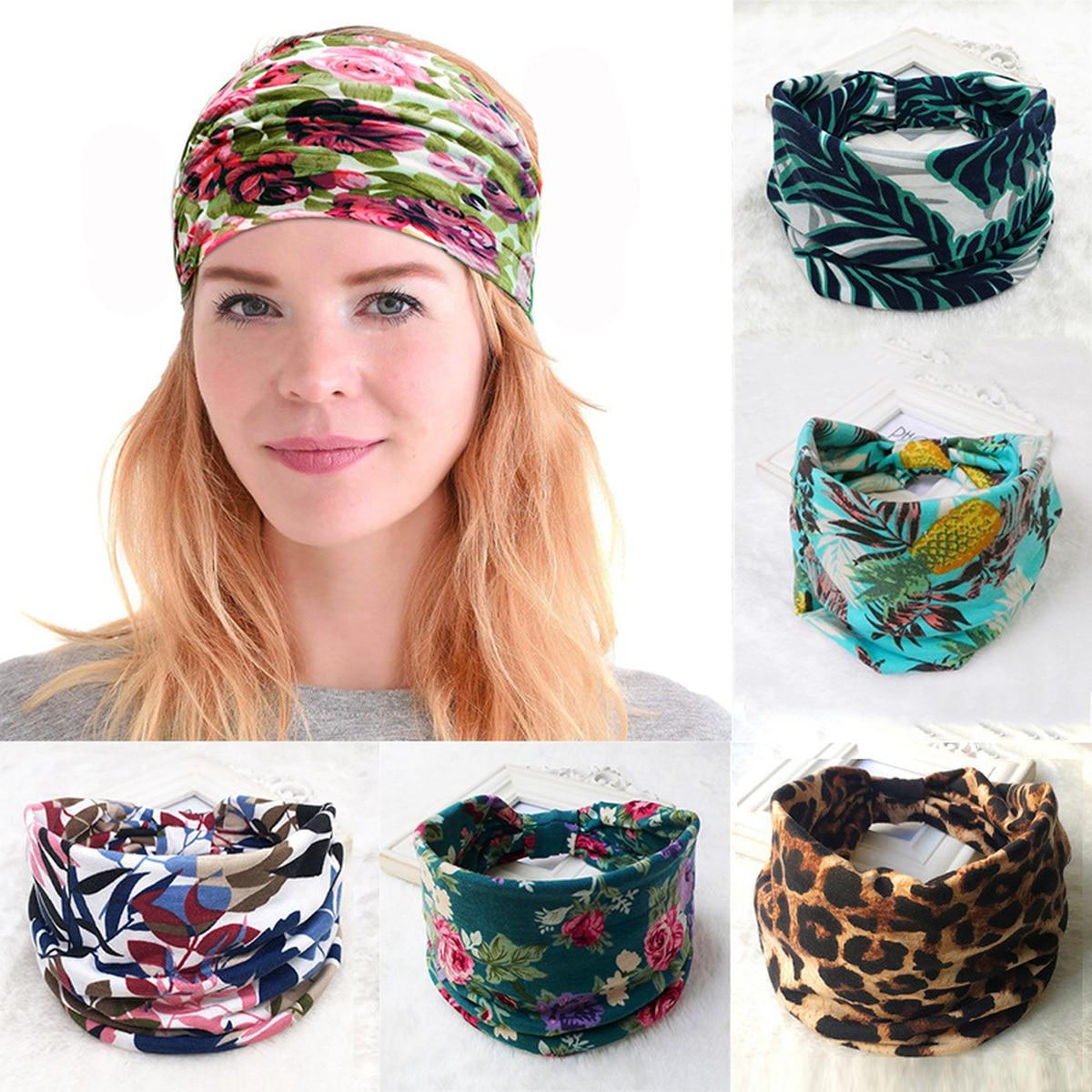Fashion Korean BOHO Wide Cotton Stretch Women Headbands Bohemia Bandage Hair Bands Headpiece Headwrap Turban   Headwear   Bandana
