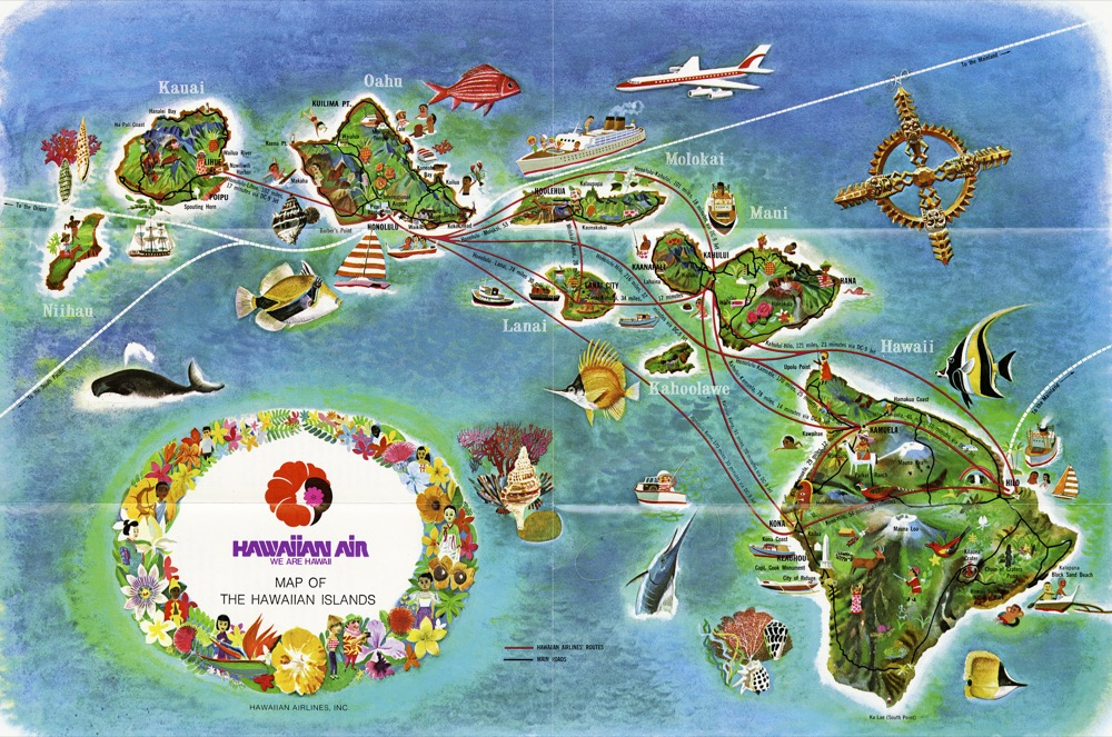 Vintage Hawaii Travel Tourism Hawaiian Airline Rout Map