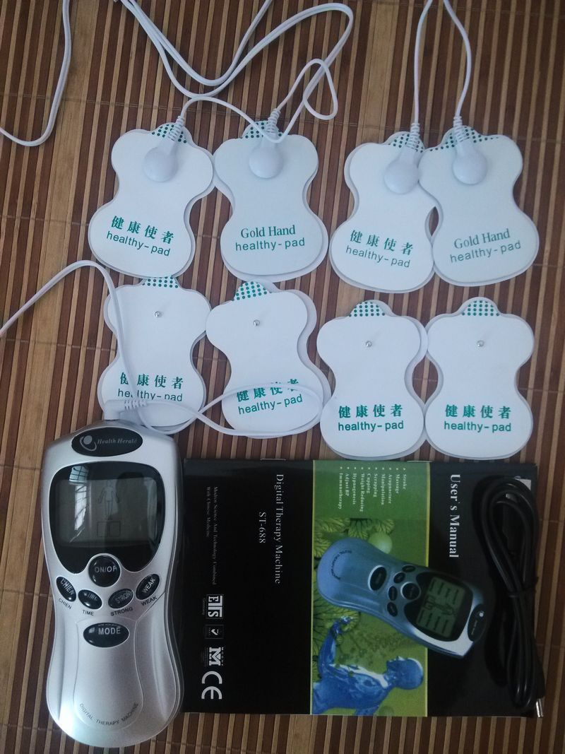 Wholesale Electric Tens Acupuncture Full Slimming Body Massager Digital Therapy Machine + 8 Pads For Back Neck Foot Amy Leg electric stimulator full body relax muscle therapy massager pulse tens acupuncture foot neck back massage slimming slipper 8 pad