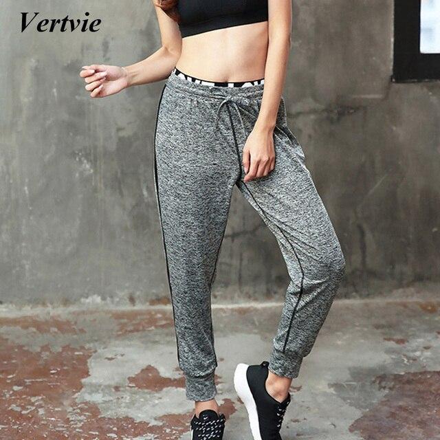 8669500721c Vertvie Sports Yoga Leggings Pants Black Gray Patchwork Drawstring Loose  Tied Feet Sports Tights Pants Women Gym Fitness Workout