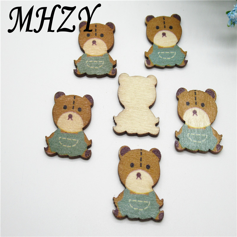 20 50PCS 25mm Wooden Vintage present color painted bear Scrapbooking DIY Sewing Kid Clothes Carfts C26
