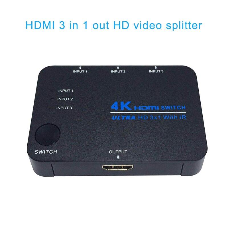 HDMI Switch 4K Switcher 3x1 Splitter Box Ultra HD For DVD HDTV Xbox PS3 PS4 EM88