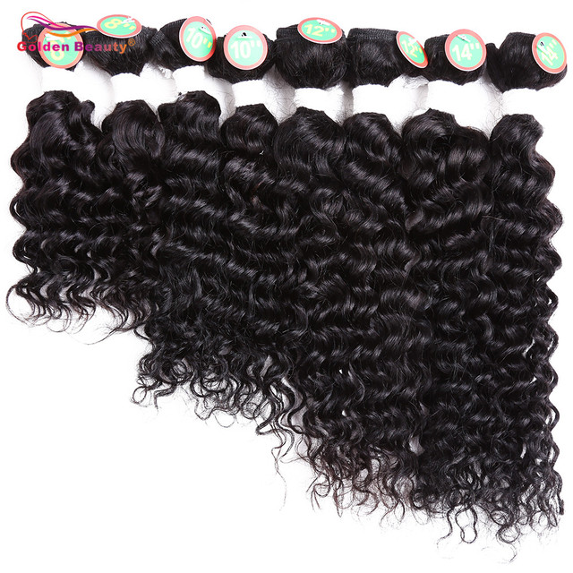 8 14inch Deep Wave Weave Ombre Hair Bundles Heat Resistant Burgundy Synthetic Short Sew In Hair Extensions For Women 8pcs/Pack