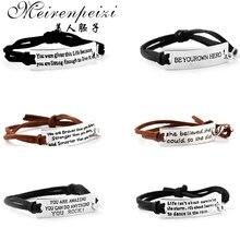 Вдохновляющие сообщения браслет кожаный браслет положительный мотивационные ювелирные изделия лучший друг подарок ручной штамп манжеты браслеты