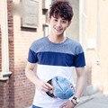 2016 Homens de Verão De Algodão camisas Casual T Marca de Moda Coreano Silm Fit Tshirts Branco Azul Patchwork T-shirt Plus Size MTS0037