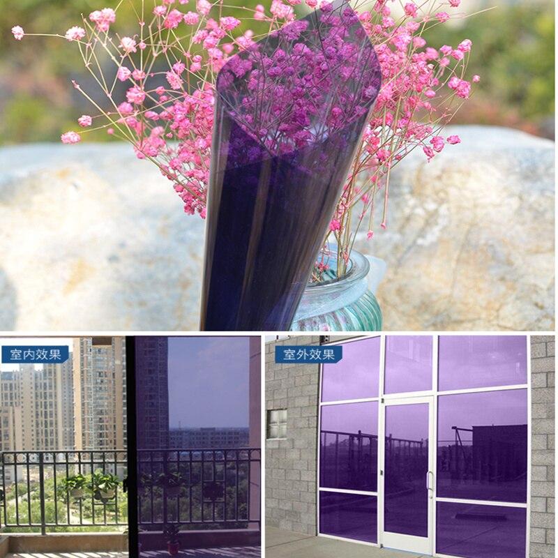 1.52x30 m violet en gros 1 rouleau décoratif fenêtre Film fenêtre autocollant résistant à la chaleur 60''x100ft