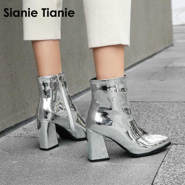 Sianie Tianie 2020 kış patent PU deri gümüş mor altın kadın ayakkabı patik moda blok yüksek topuklu kadın yarım çizmeler