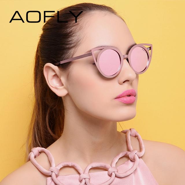 Aofly cat eye mulheres óculos polarizados óculos de sol óculos de sol óculos de armação de metal da marca original designer de moda rodada óculos de lente polaroid