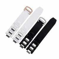 20mm 10mm 18mm Buckle Hot Sell New Men Women Black White Silicone Rubber Watch Band Silver