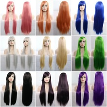 11 Colors 80cm Synthetic Long Straight Hair Wig Black Grey Green Blue Purple Pink Hairpiece Cosplay Wigs For Women 6394 girl hairpiece stretchy hair ring fluorescent green black