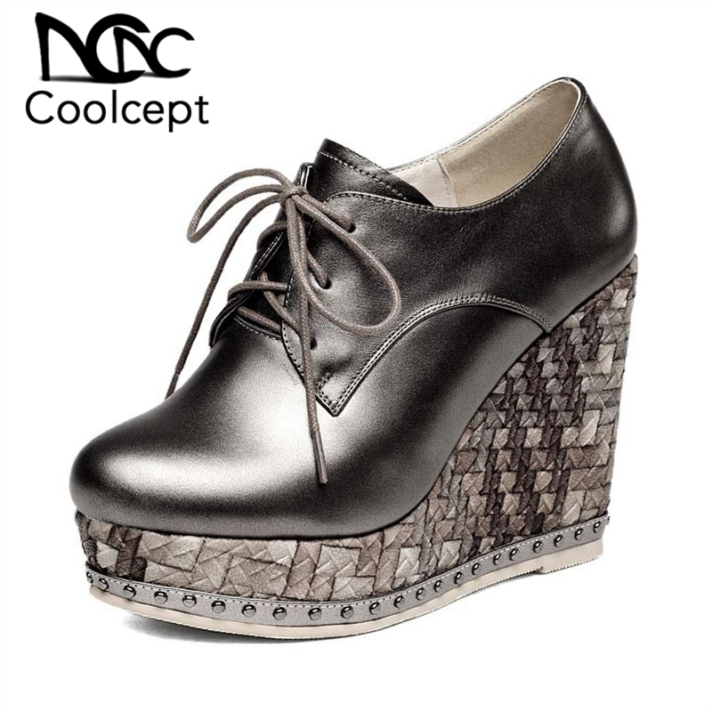 Coolcept Genuine Leather Women Pumps Lace Up Round Toe Wedges Shoes Platform Solid Color High Heels