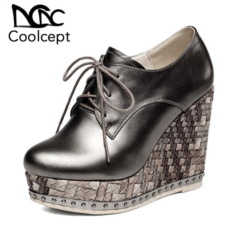 Coolcept en cuir véritable femmes pompes à lacets bout rond chaussures à semelles compensées plate-forme solide couleur talons hauts chaussures femmes taille 34-39