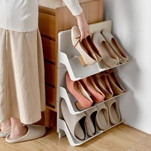 Image 2 - プラスチック靴ラックリビングルームシューズ棚 2 個自己アセンブリ家庭用垂直複合靴収納キャビネット戸口職人