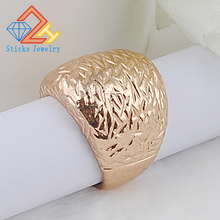 Etched alloy plating KC gold ring, free shipping alloy plating gold rhinestone finger ring golden