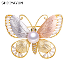 SHDIYAYUN 2019 Pearl Brooch For Women Frosted Butterfly Brooches Pins Natural Freshwater Fine Jewelry Italian Technology