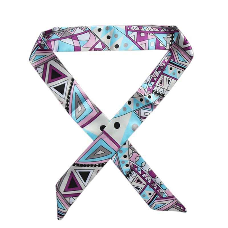 20 couleur 4*100 cm multifonction main ruban écharpe 2018 nouvelle soie femmes mode petite écharpe cheveux sacs poignée décoration cravate