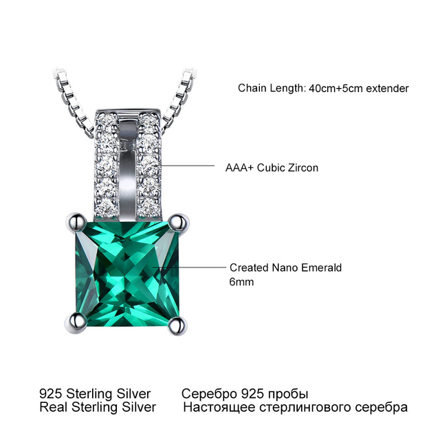 UMCHO Pure 925 Sterling Silver Pendants For Women Green Princess-cut Emerald Charm Wedding Pendant Fine Jewelry Without Chain 5