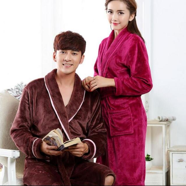 Couple autumn and winter flannel nightgown men and women thick bathrobes  mens bathrobe winter clothes in the long section