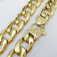 New Arrive High Quality Jewelry Mens Gold Tone Stainless Steel Wide Figaro Chain Necklace 15mm 18in