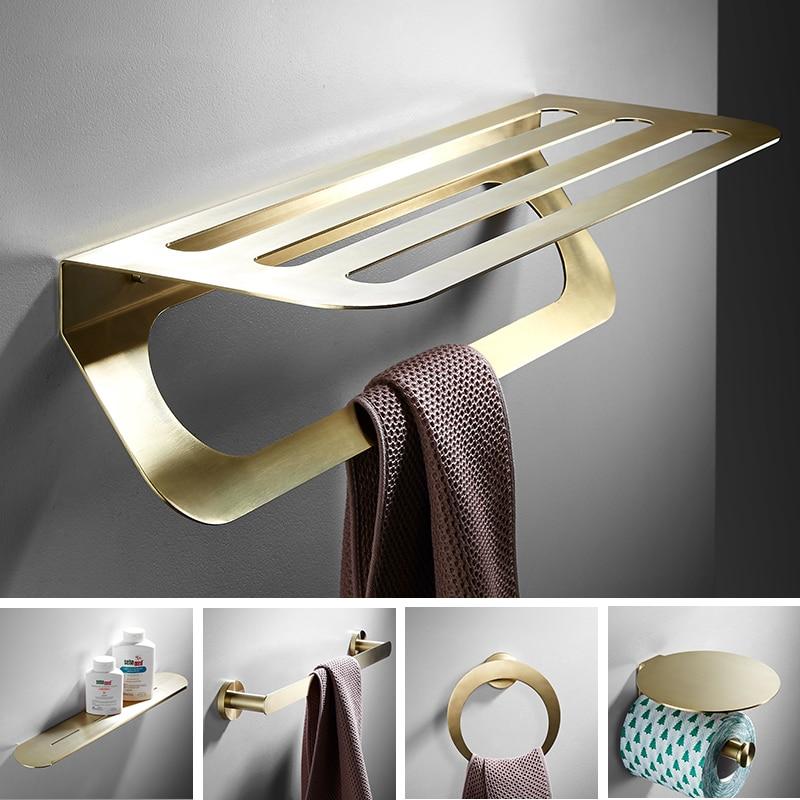 Brushed Gold Bathroom Accessories Set Towel Rack, Corner Shelf, Toilet Roll Holder, Toilet Brush Holder Wall Mounted Robbe Hook