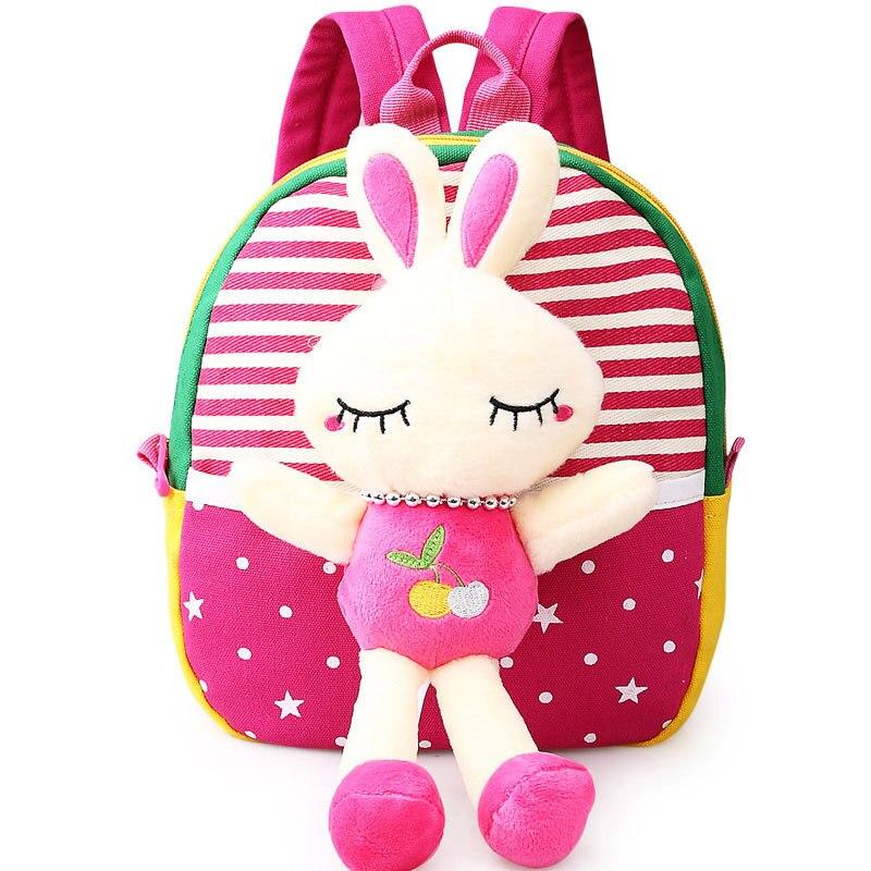 2017 Новый Корейский Стиль Милые Куклы Сумка для Школы Детский Рюкзак с Hello Kitty Игрушки Кролика Mochila Infantil Okul Cantasi