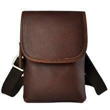 Hot sale Genuine Real Leather men vintage Brown Small Messenger Bag Waist Pack belt 6″ Phone Case belt