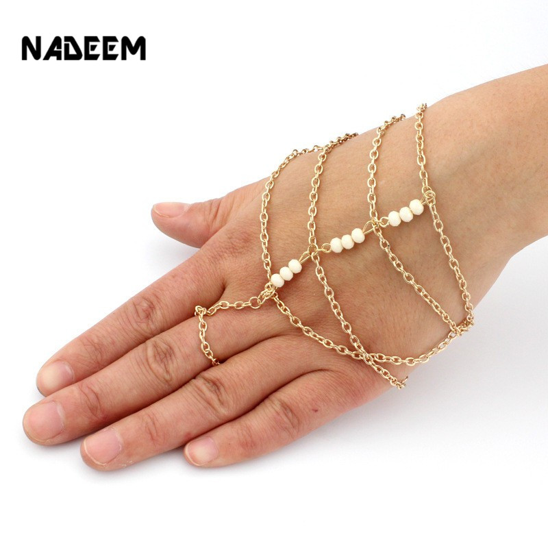 Hot Selling New Gold Color Slave Hand Howlite bead Finger Ring Bracelet for Women Fashion Charms Harness Pulseiras Mujer Bijoux