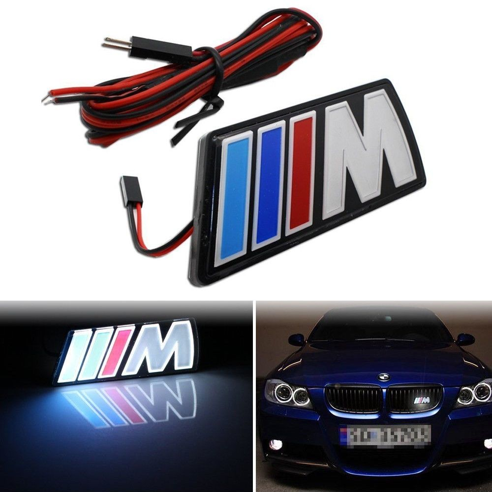 ///M Motorsport M power Car Front Hood Grille Emblem LED Light For BMW Universal motorsport manager