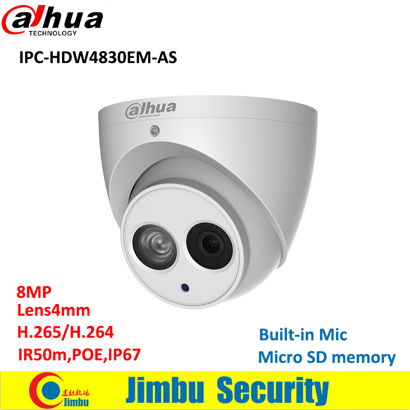 Original Dahua 8MP IP IR Eyeball camera IPC-HDW4830EM-AS POE Built-in Mic H.265 IP67 Metal body fixed lens4mm security camera зимняя шина nokian hakkapeliitta 8 suv 265 50 r20 111t
