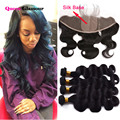 Best 7A Peruvian Body Wave With Closure 13x4 Silk Base Closure With Bundles Peruvian Virgin Hair 4 Bundles With Silk Closure