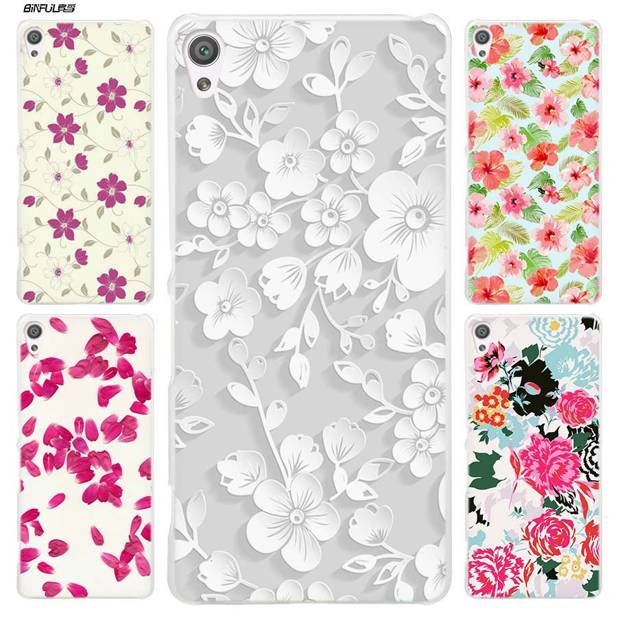 BiNFUL New Petal sketch Clear Cover Case for Sony Xperia XA XA1 X XZ Z5 Z1 Z2 Z3 M4 Aqua M5 E4 E5 C4 C5 Compact Premium