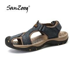 9bacede305e Genuine Leather Summer Men s Sandals 2018 New Beach for Male Shoes Mens  Gladiator Sandal Classical Sandalet